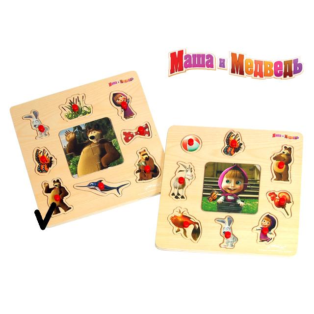 МАША И МЕДВЕДЬ (игрушки) Пазл GT5074 Маша и Медведь 12 деталей 22,5*22,5*0,8см дерево Маша и Медведь 1101342/1