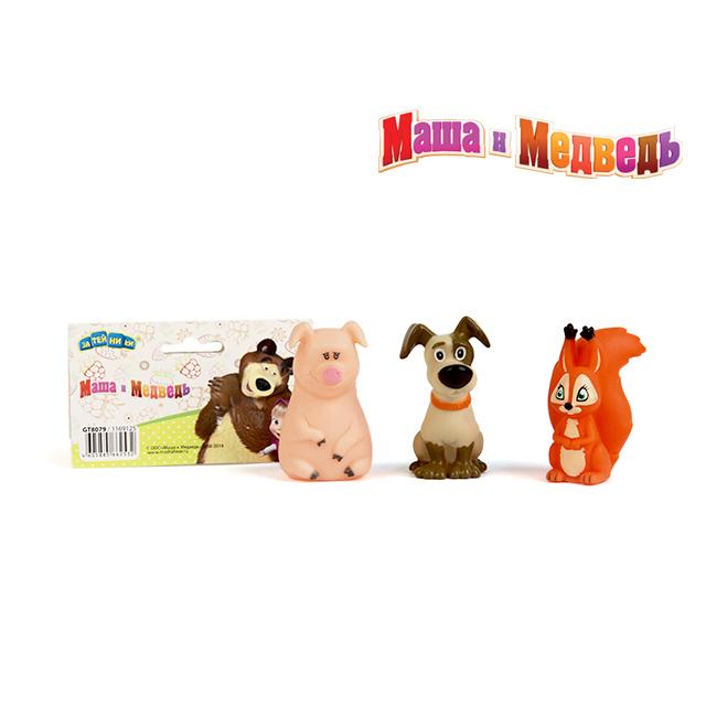 МАША И МЕДВЕДЬ (игрушки) Пластизоль GT8079 Белочка, собачка и хрюшка, в сетке ТМ Маша и Медведь 1169125